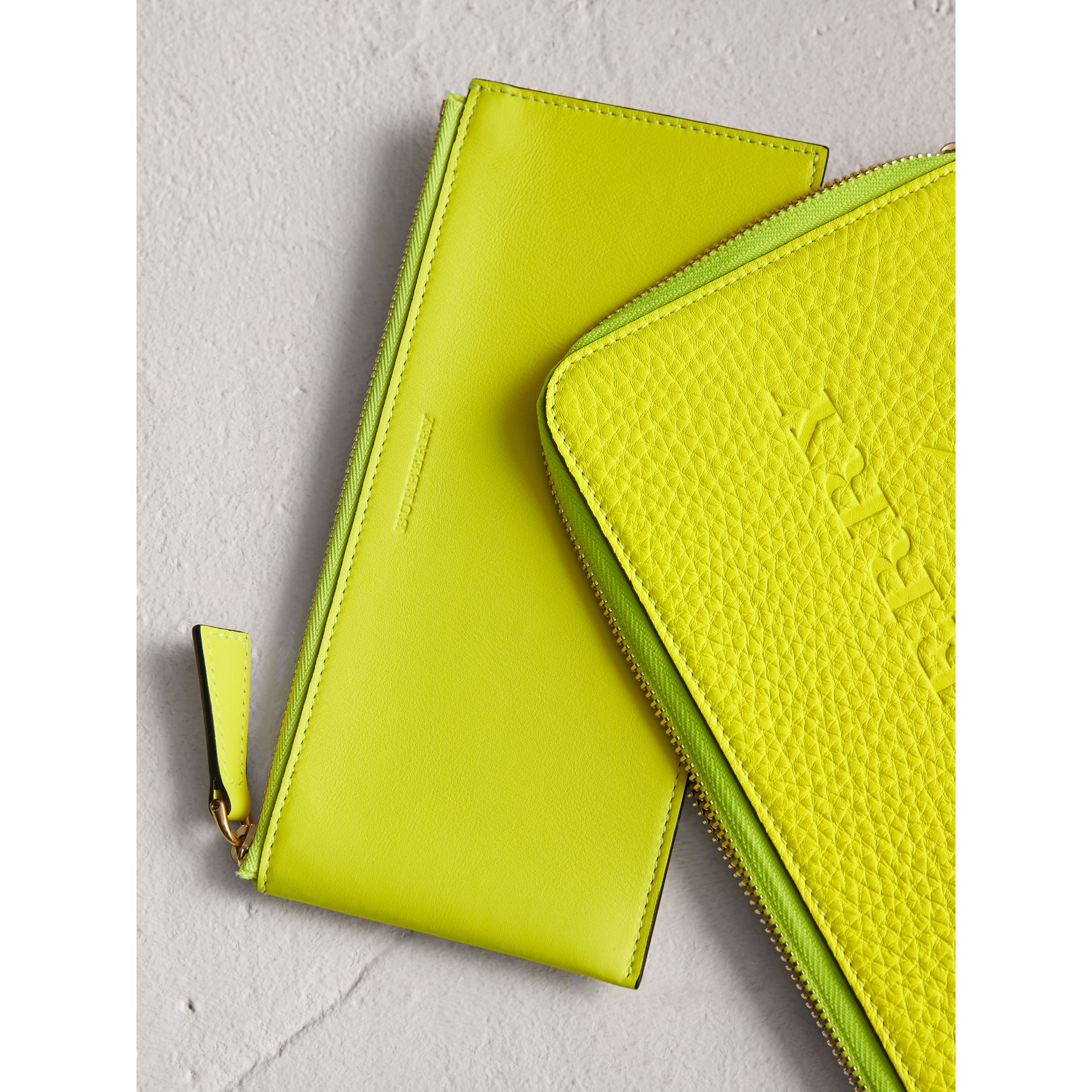 Embossed Neon Leather Travel Wallet in Bright Yellow | Burberry - gallery image 1