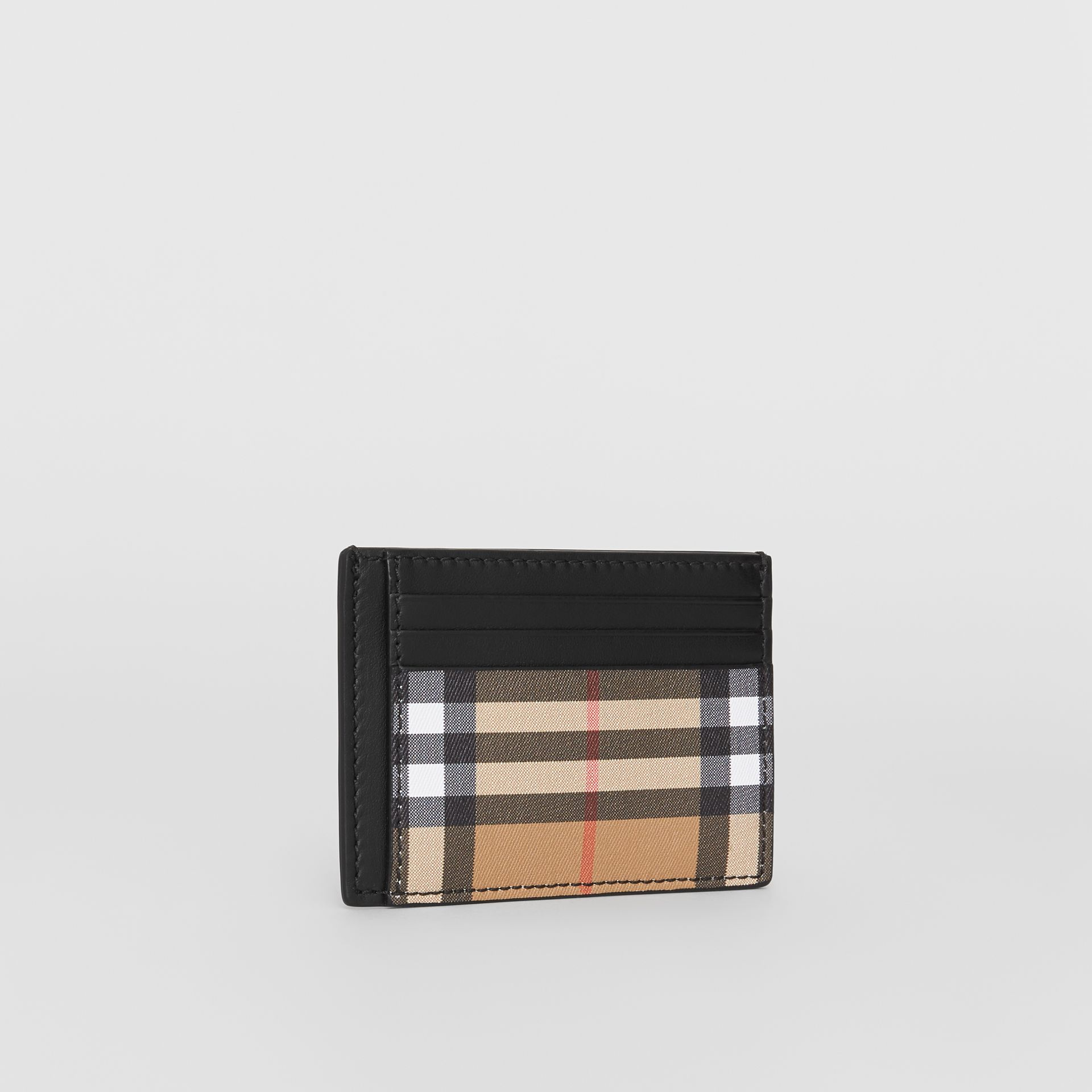 Vintage Check and Leather Money Clip Card Case in Black - Men | Burberry - gallery image 3