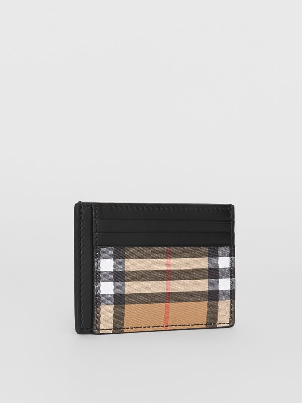 Vintage Check and Leather Money Clip Card Case in Black - Men | Burberry United States - cell image 3