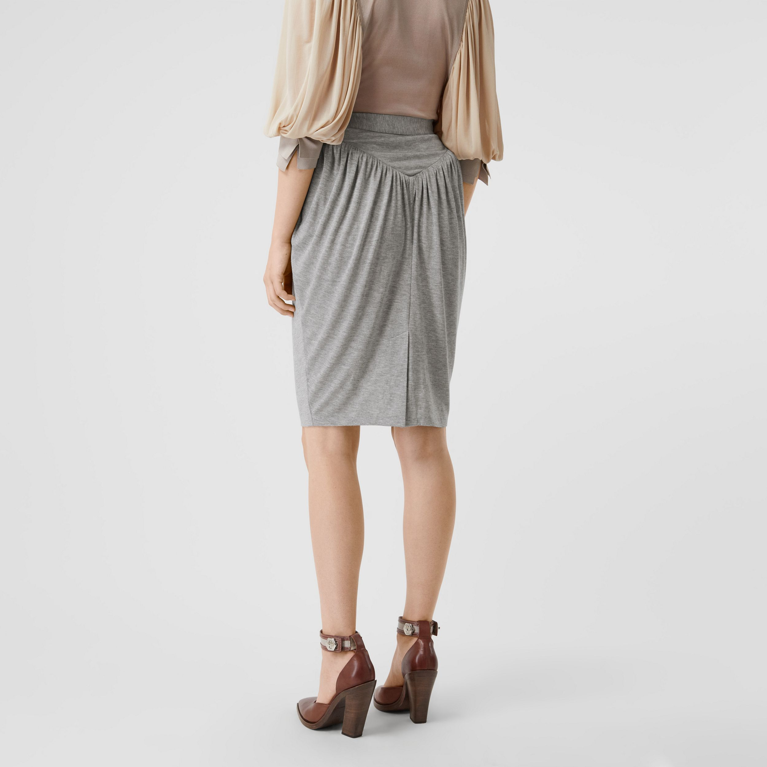 Gathered Jersey Sculptural Skirt in Pewter Melange - Women | Burberry - 3