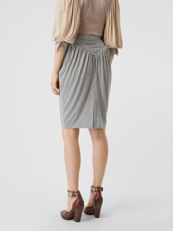 Gathered Jersey Sculptural Skirt in Pewter Melange - Women | Burberry - cell image 2