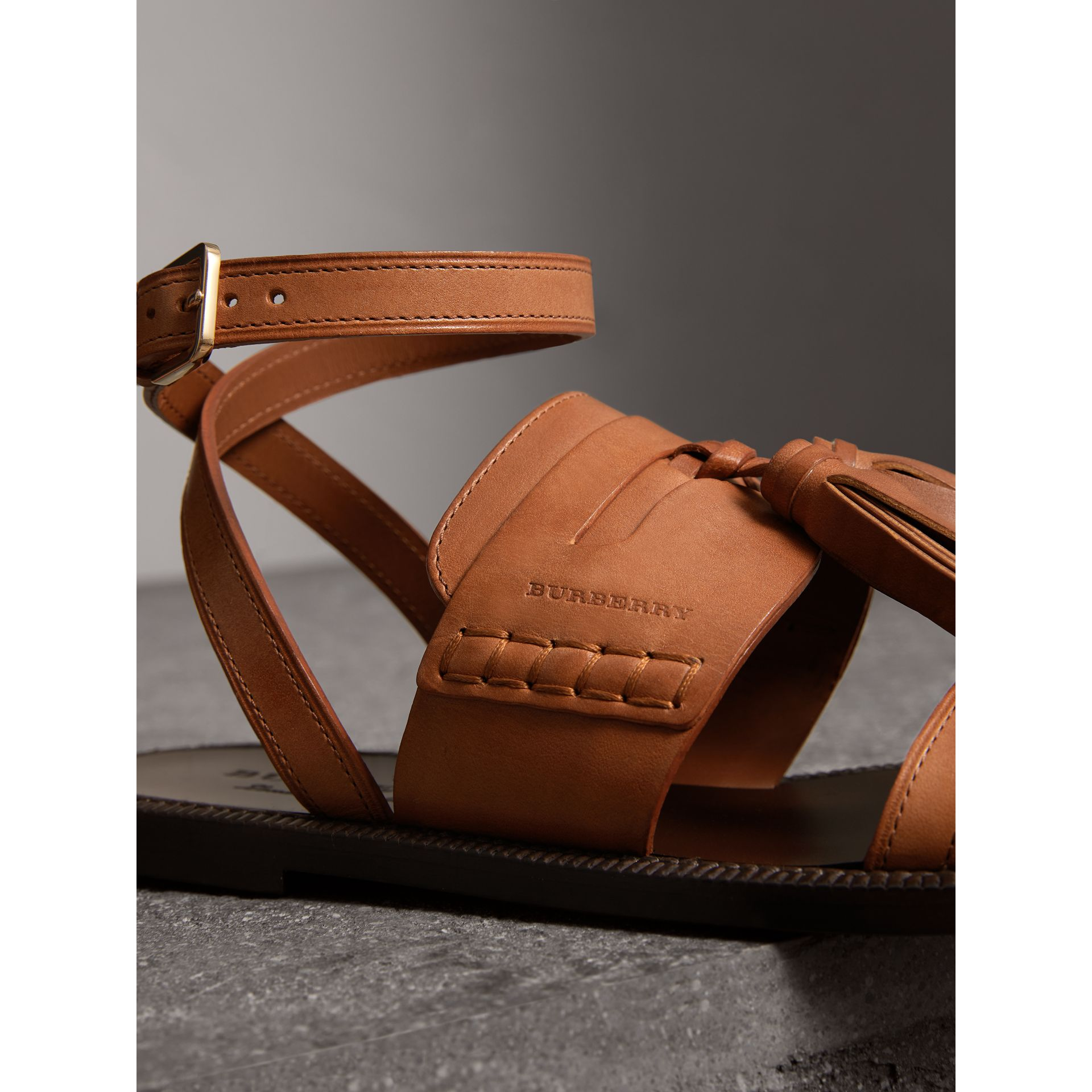 Tasselled Leather Sandals in Amber - Women | Burberry - gallery image 1