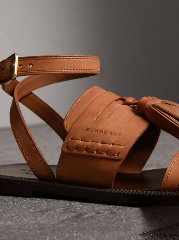 Tasselled Leather Sandals in Amber - Women | Burberry - cell image 1