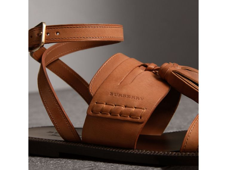 Tasselled Leather Sandals in Amber - Women | Burberry Hong Kong - cell image 1