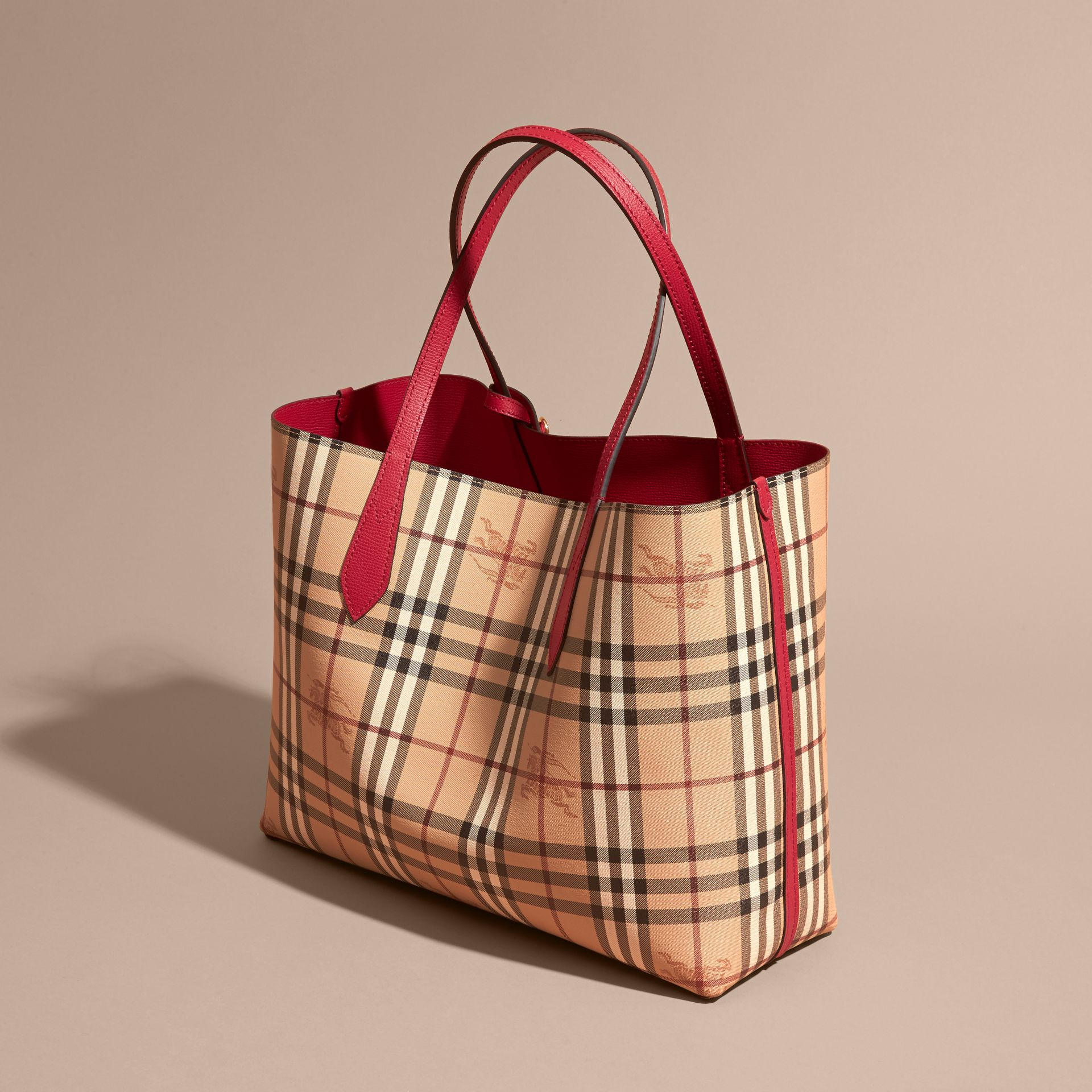 The Medium Reversible Tote in Haymarket Check and Leather Poppy Red - gallery image 6