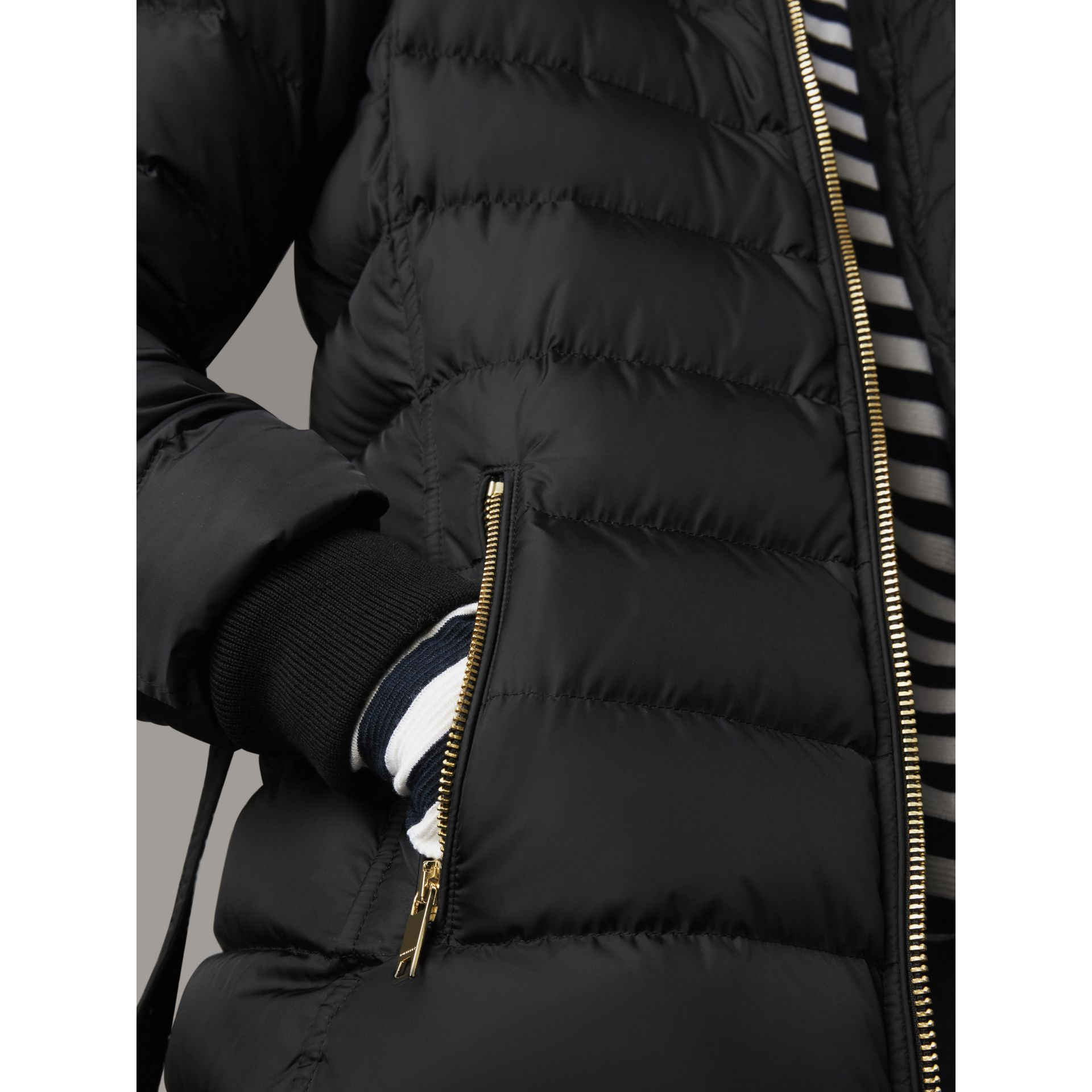 Hooded Down-filled Puffer Jacket in Black - Women | Burberry - gallery image 4