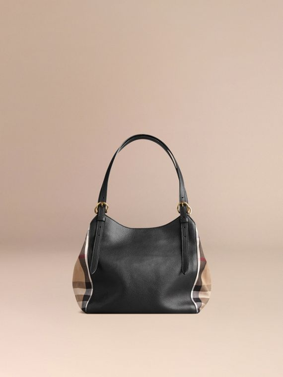The Canter piccola in pelle con motivo House check (Nero) - Donna | Burberry - cell image 2