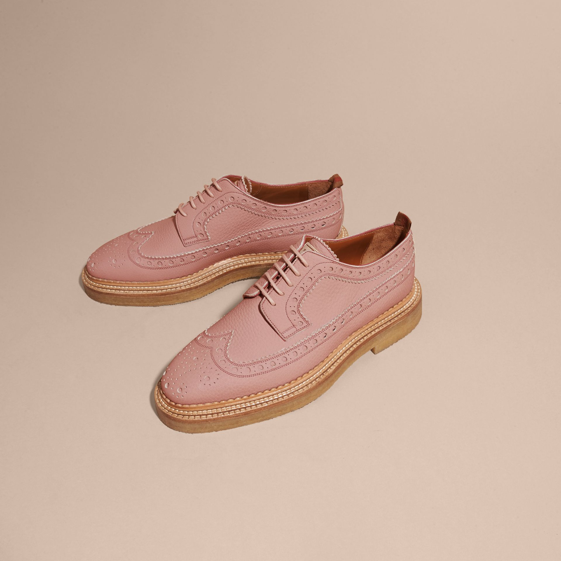 Leather Wingtip Brogues Rose Pink - gallery image 3