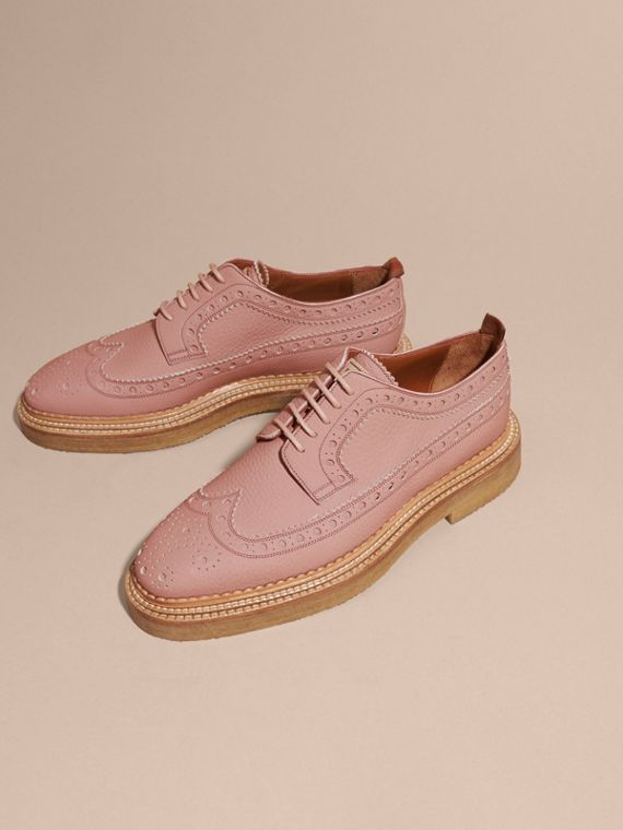 Leather Wingtip Brogues in Rose Pink - cell image 2