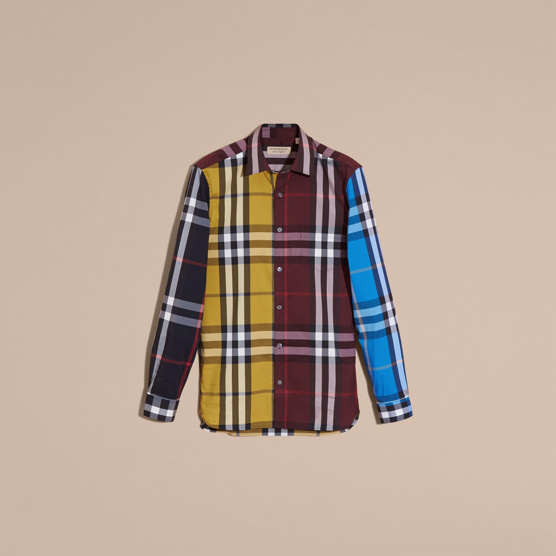 Yellow Colour Block Check Cotton Blend Shirt Yellow - gallery image 4