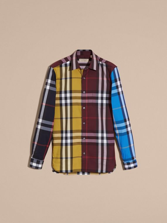 Yellow Colour Block Check Cotton Blend Shirt Yellow - cell image 3