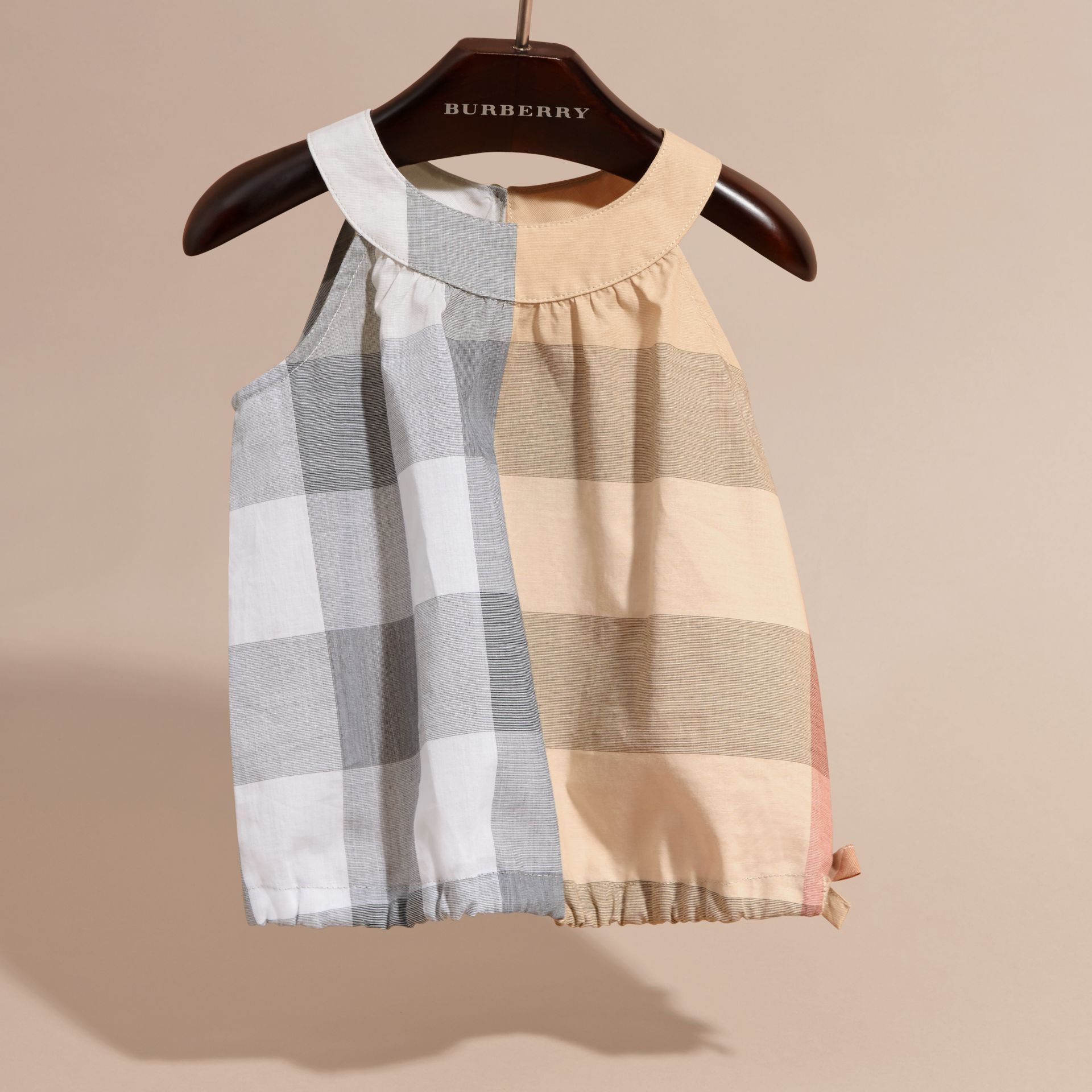 Gathered Check Cotton Top in Pale Stone | Burberry - gallery image 3