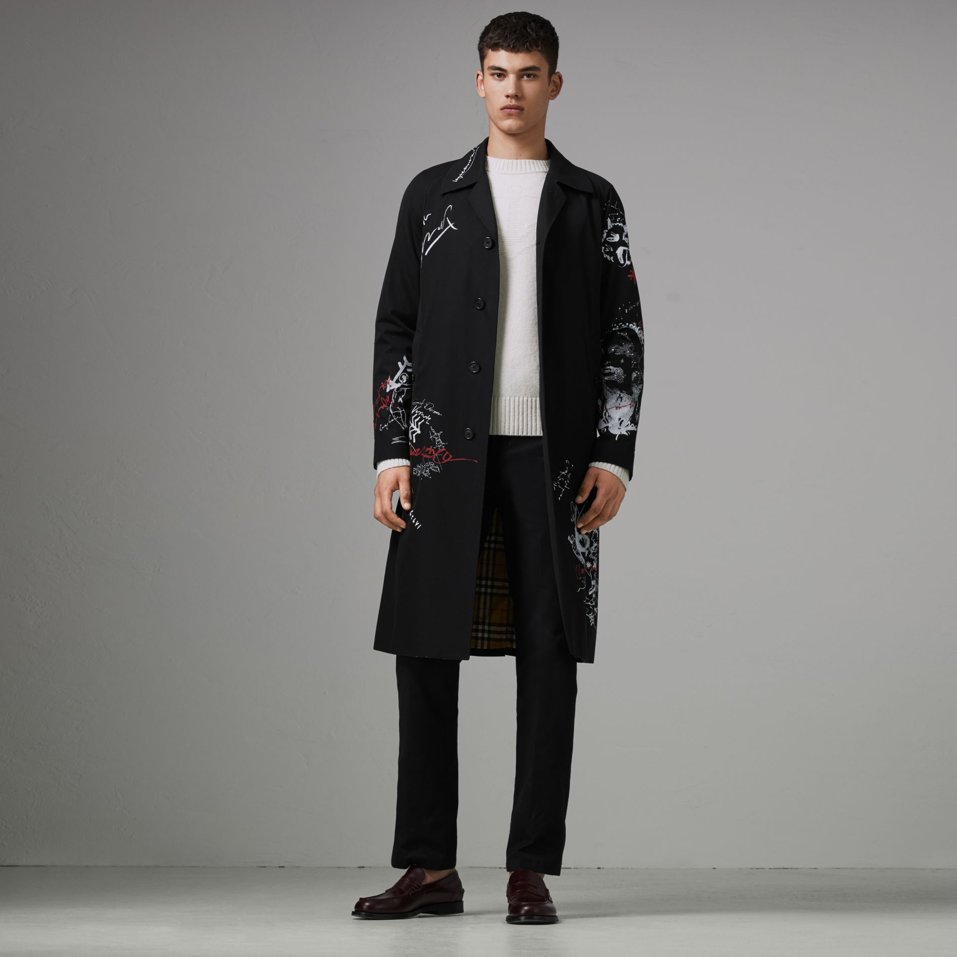 Sketch Print Car Coat in Black - Men | Burberry - gallery image 0