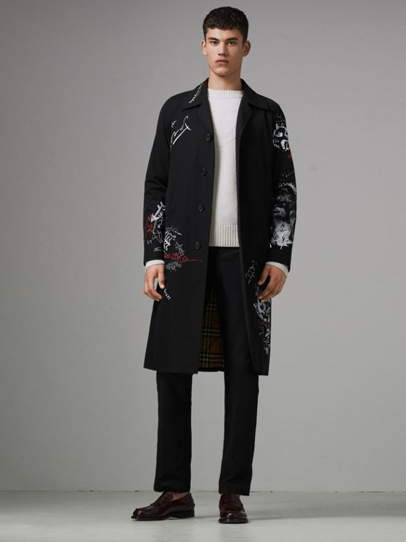 Sketch Print Car Coat in Black