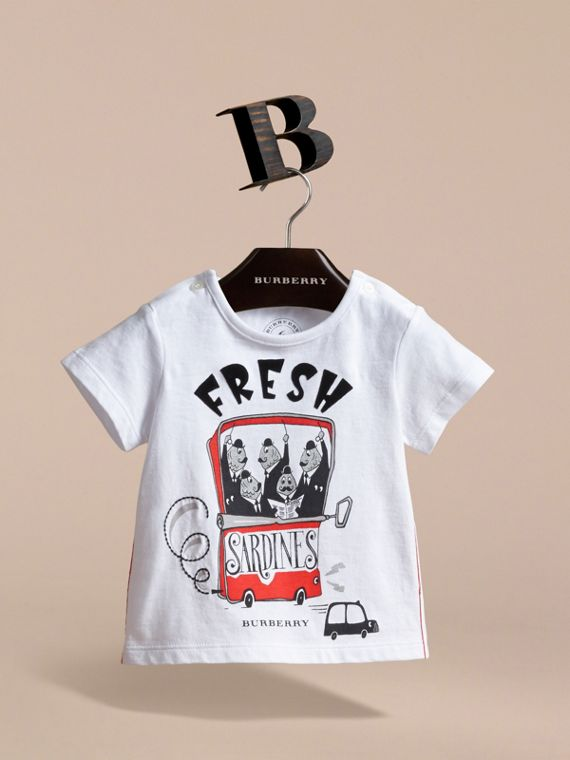Fresh Sardines Motif Cotton T-shirt in White | Burberry Hong Kong - cell image 2
