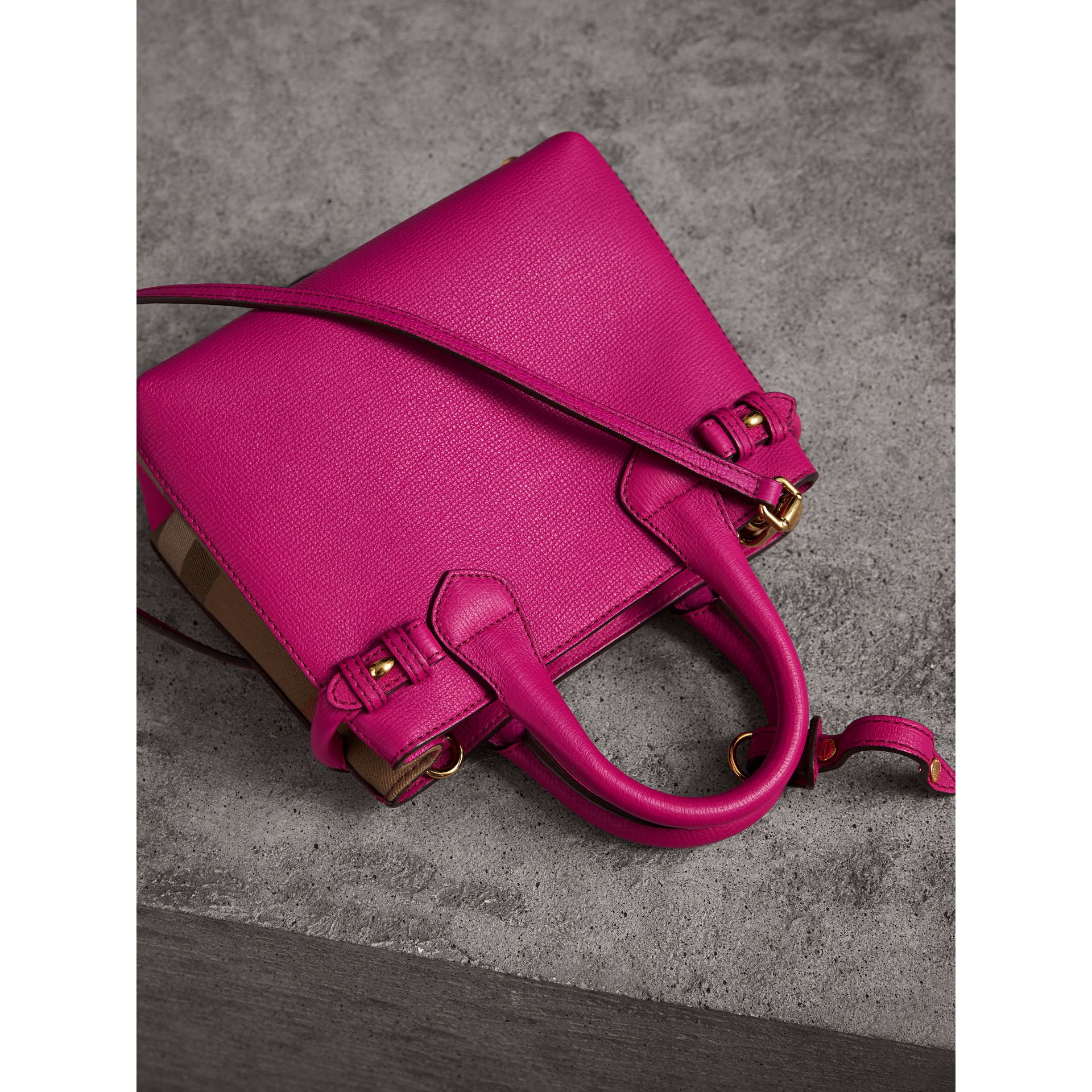 The Baby Banner in Leather and House Check in Brilliant Fuchsia - Women | Burberry - gallery image 4