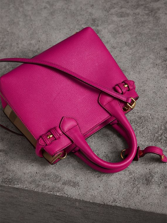 The Baby Banner in Leather and House Check in Brilliant Fuchsia - Women | Burberry Australia - cell image 3