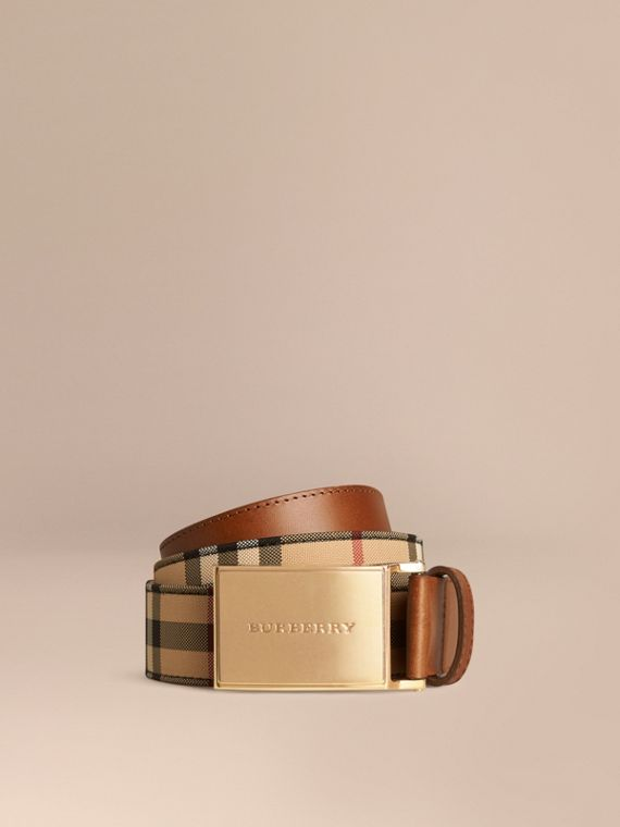 Horseferry Check and Leather Belt - Men | Burberry Singapore