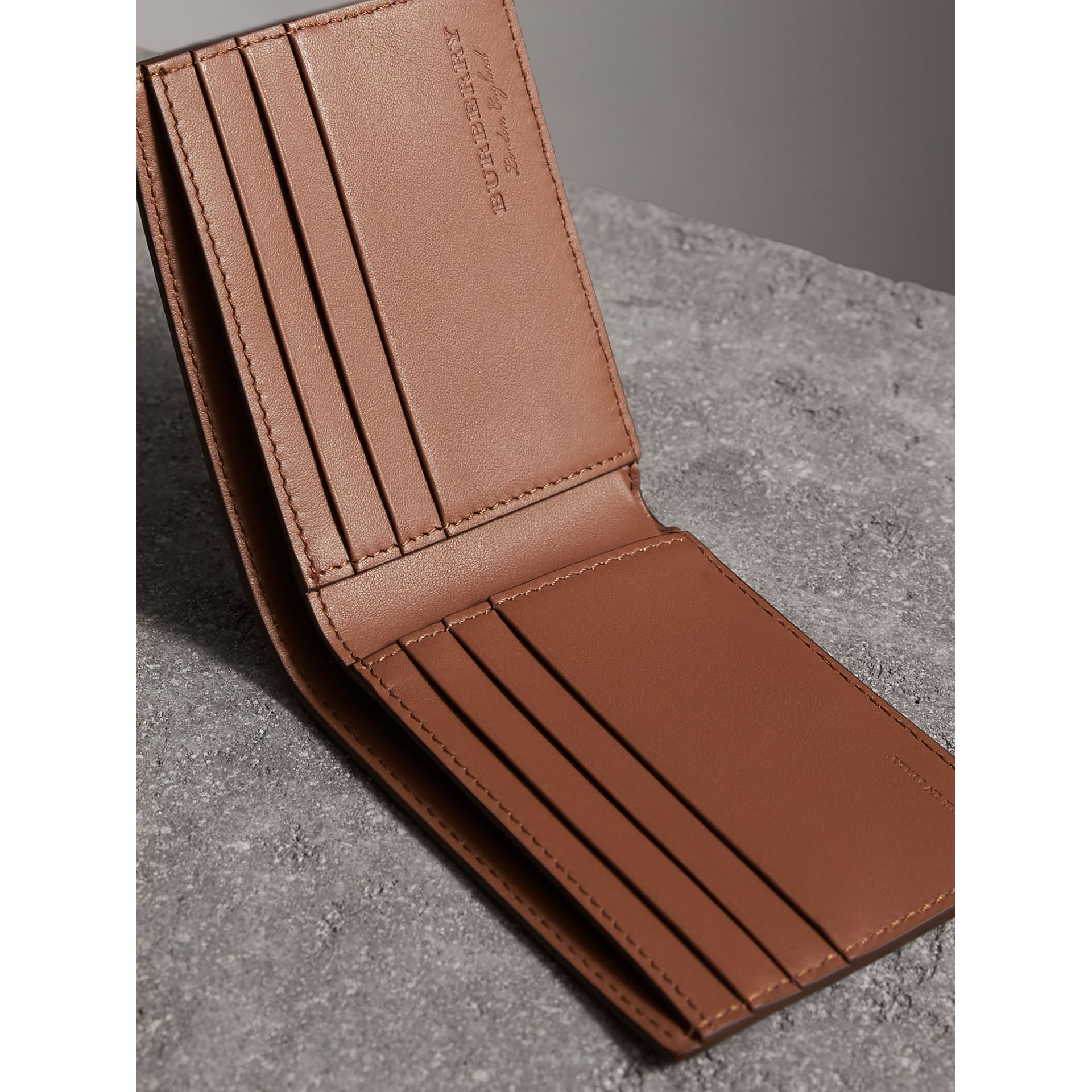 Textured Leather Bifold Wallet in Chestnut Brown - Men | Burberry United States - gallery image 3