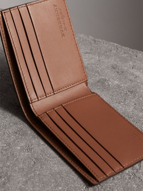 Textured Leather Bifold Wallet in Chestnut Brown - Men | Burberry Singapore - cell image 3