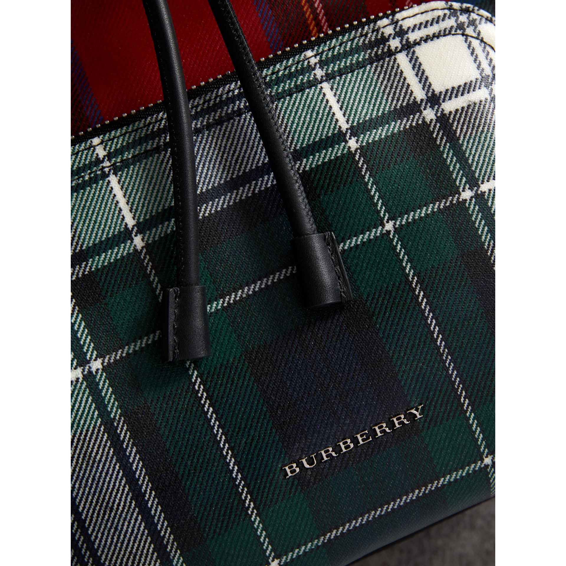 The Medium Rucksack in Laminated Tartan in Military Red - Women | Burberry - gallery image 1