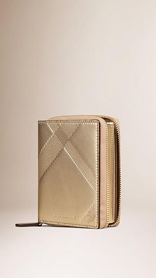 Ziparound Check-embossed Metallic Leather Mini Notebook
