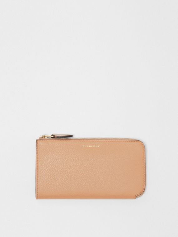 Two-tone Leather Ziparound Wallet and Coin Case in Light Camel