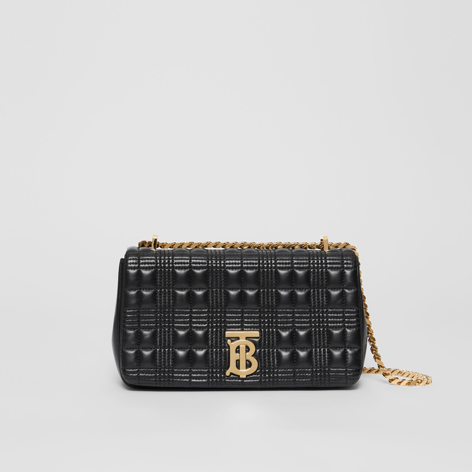 Small Quilted Check Lambskin Lola Bag in Black - Women | Burberry - gallery image 0