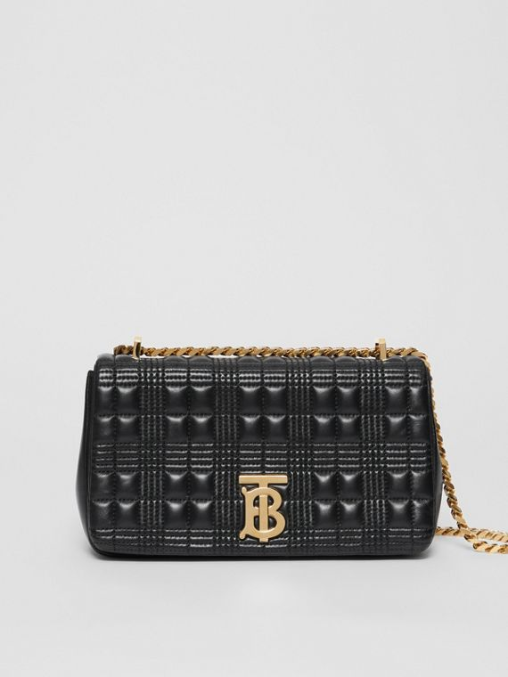 Small Quilted Check Lambskin Lola Bag in Black