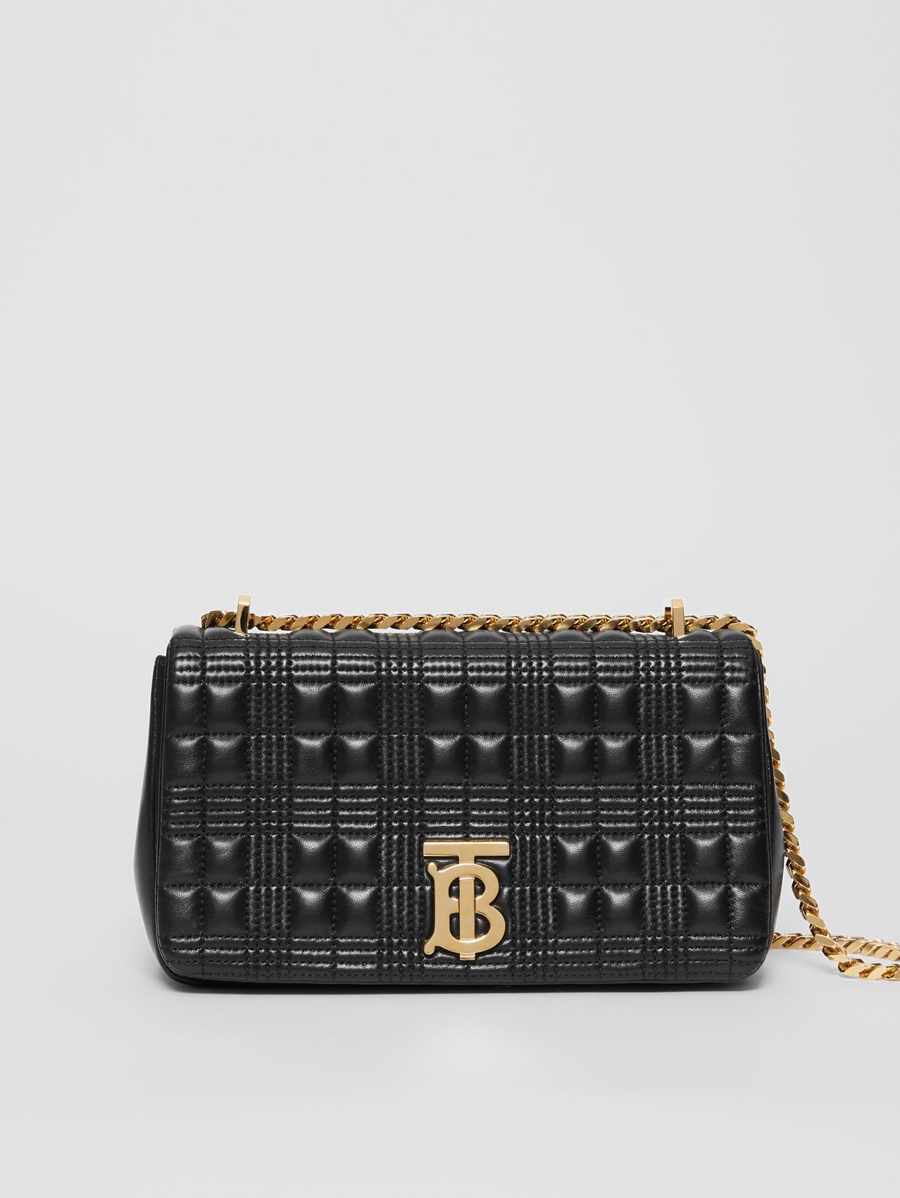 Small Quilted Lambskin Lola Bag in Black/light Gold