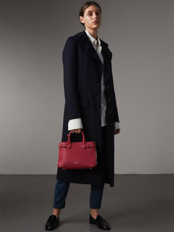 Petit sac The Banner en cuir et coton House check (Rouge Feuille Morte) - Femme | Burberry - cell image 3