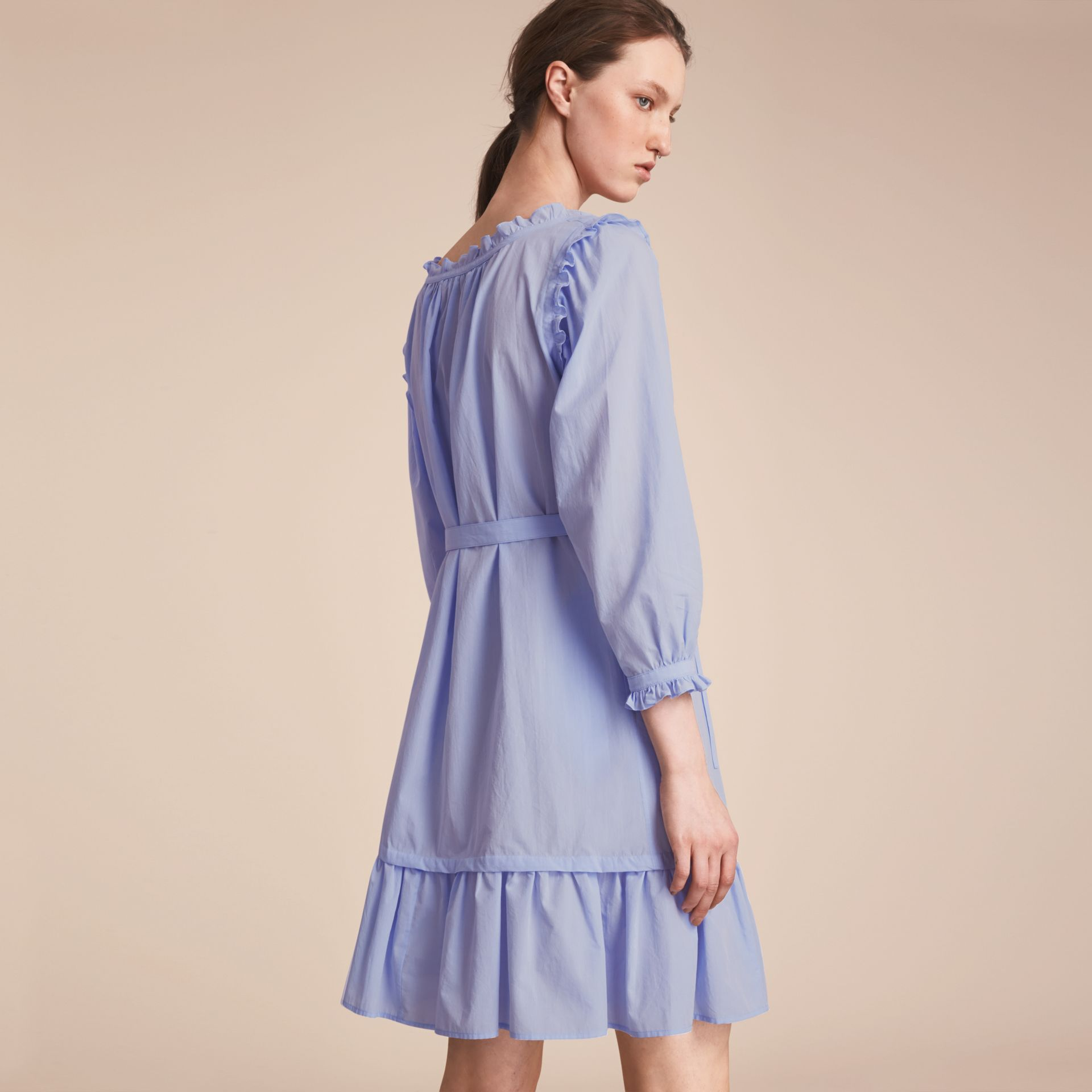 Ruffle and Pintuck Detail Cotton Dress in Pale Blue - Women | Burberry - gallery image 2