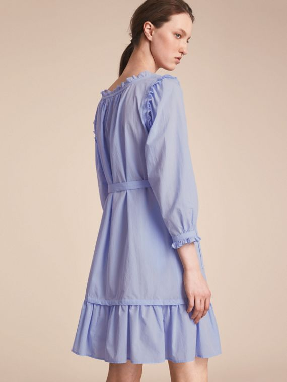 Ruffle and Pintuck Detail Cotton Dress in Pale Blue - Women | Burberry - cell image 2