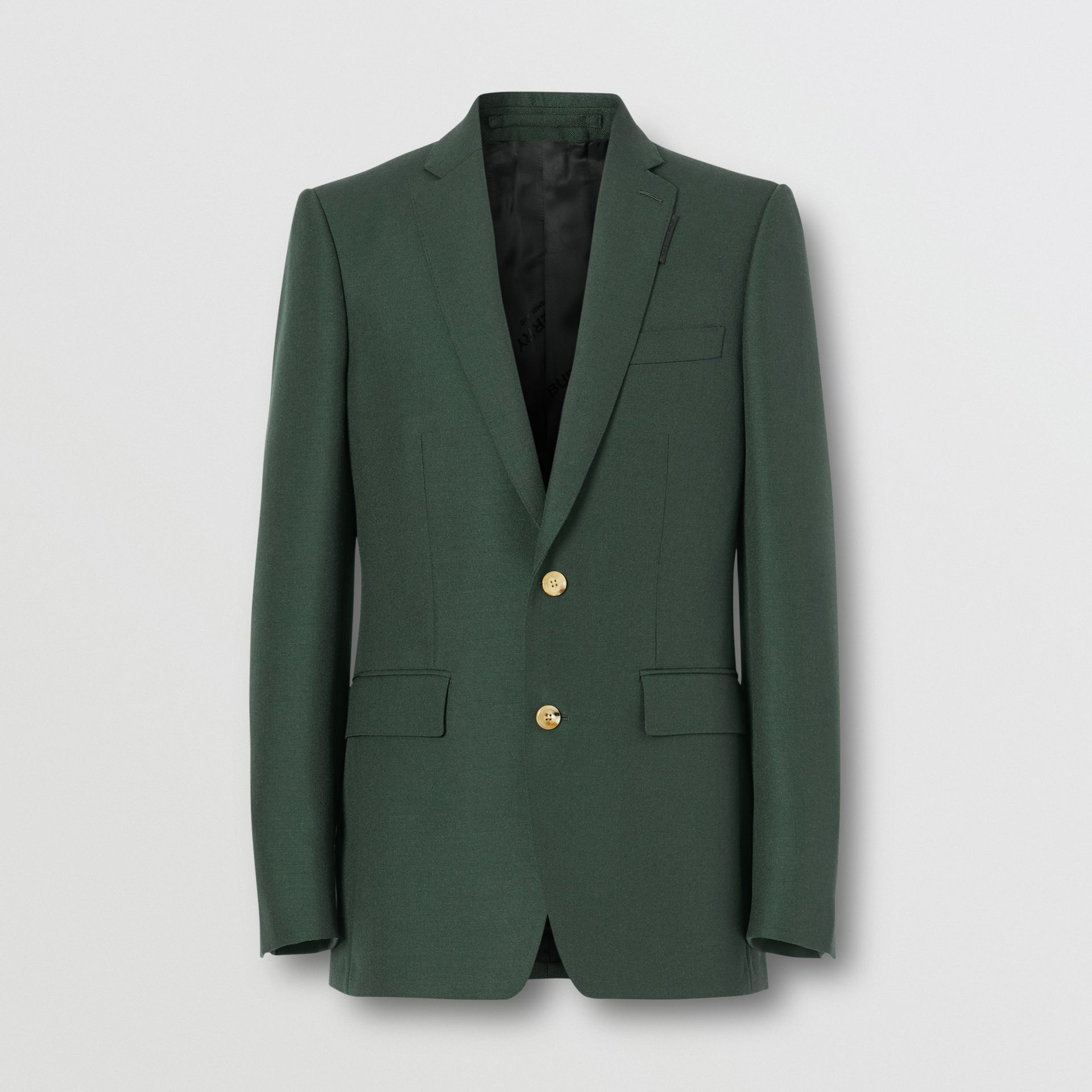 English Fit Wool Mohair Tailored Jacket in Dark Forest Green - Men | Burberry United Kingdom - gallery image 3