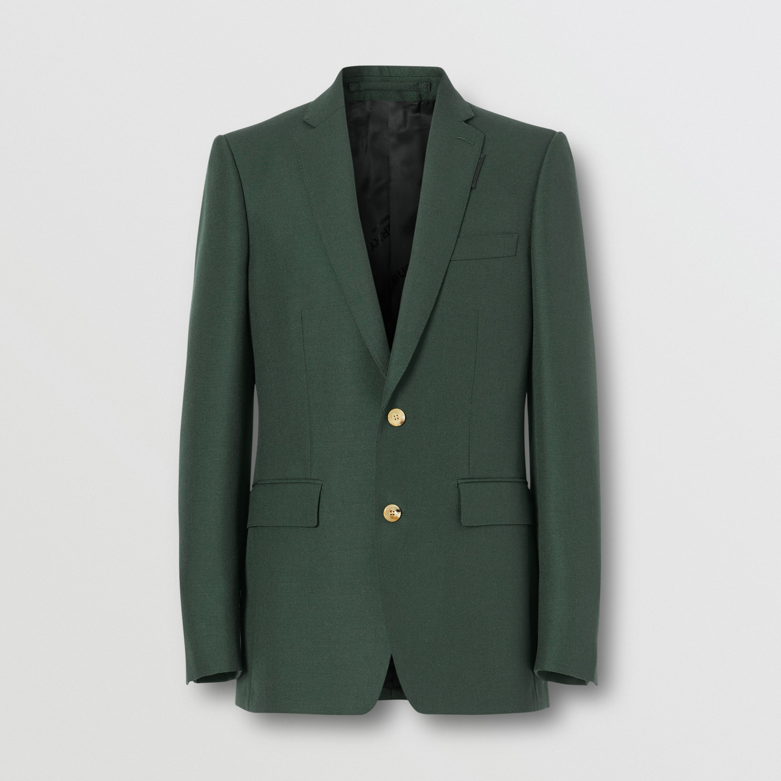 English Fit Wool Mohair Tailored Jacket in Dark Forest Green - Men | Burberry - 4
