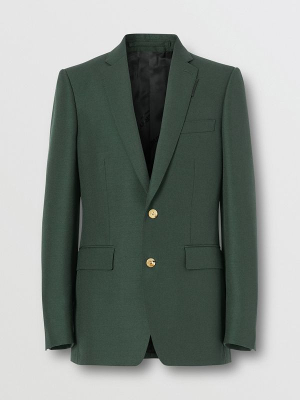 English Fit Wool Mohair Tailored Jacket in Dark Forest Green - Men | Burberry United Kingdom - cell image 3