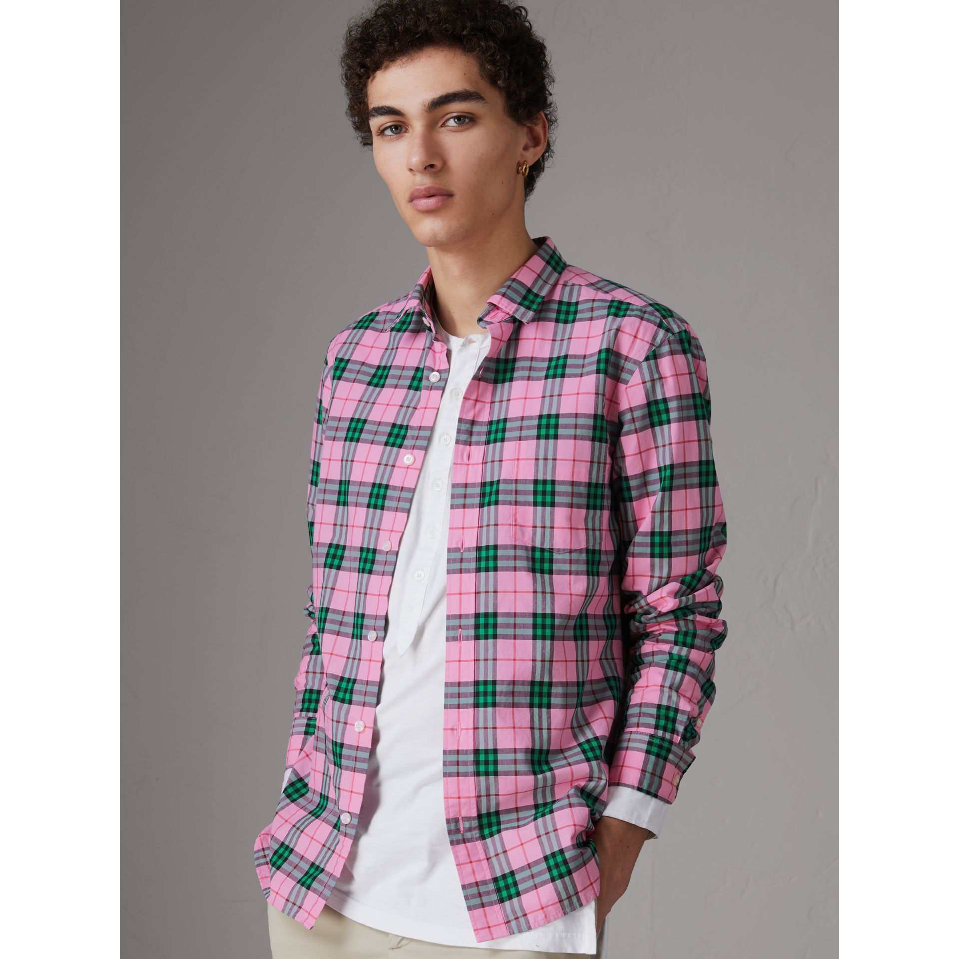 Check Cotton Shirt in Bright Coral Pink - Men | Burberry - gallery image 4