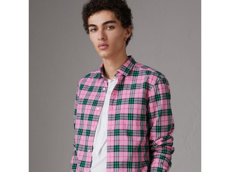 Check Cotton Shirt in Bright Coral Pink - Men | Burberry Canada - cell image 4