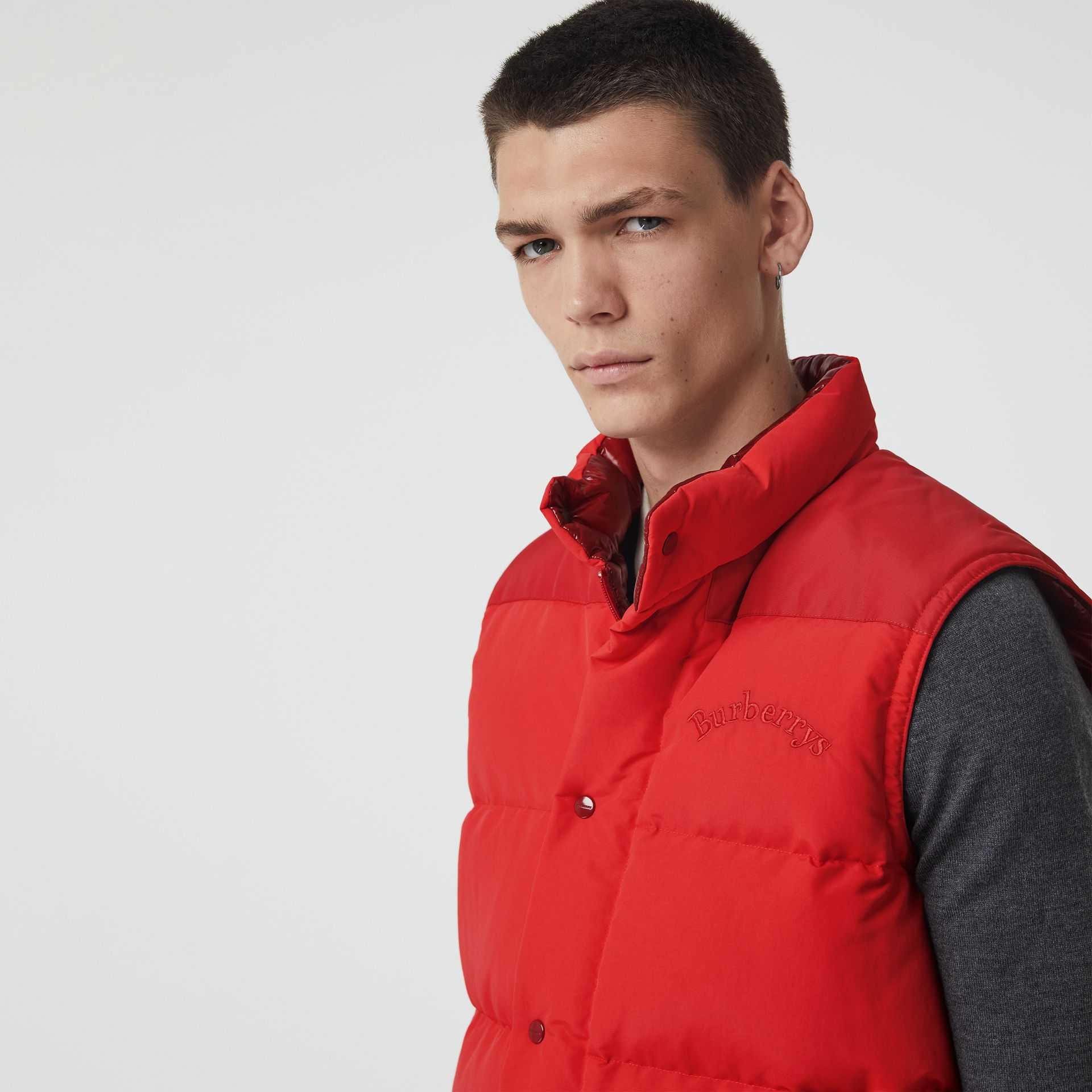 Embroidered Archive Logo Down-filled Gilet in Bright Red - Men | Burberry United Kingdom - gallery image 1
