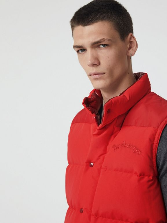 Embroidered Archive Logo Down-filled Gilet in Bright Red - Men | Burberry - cell image 1