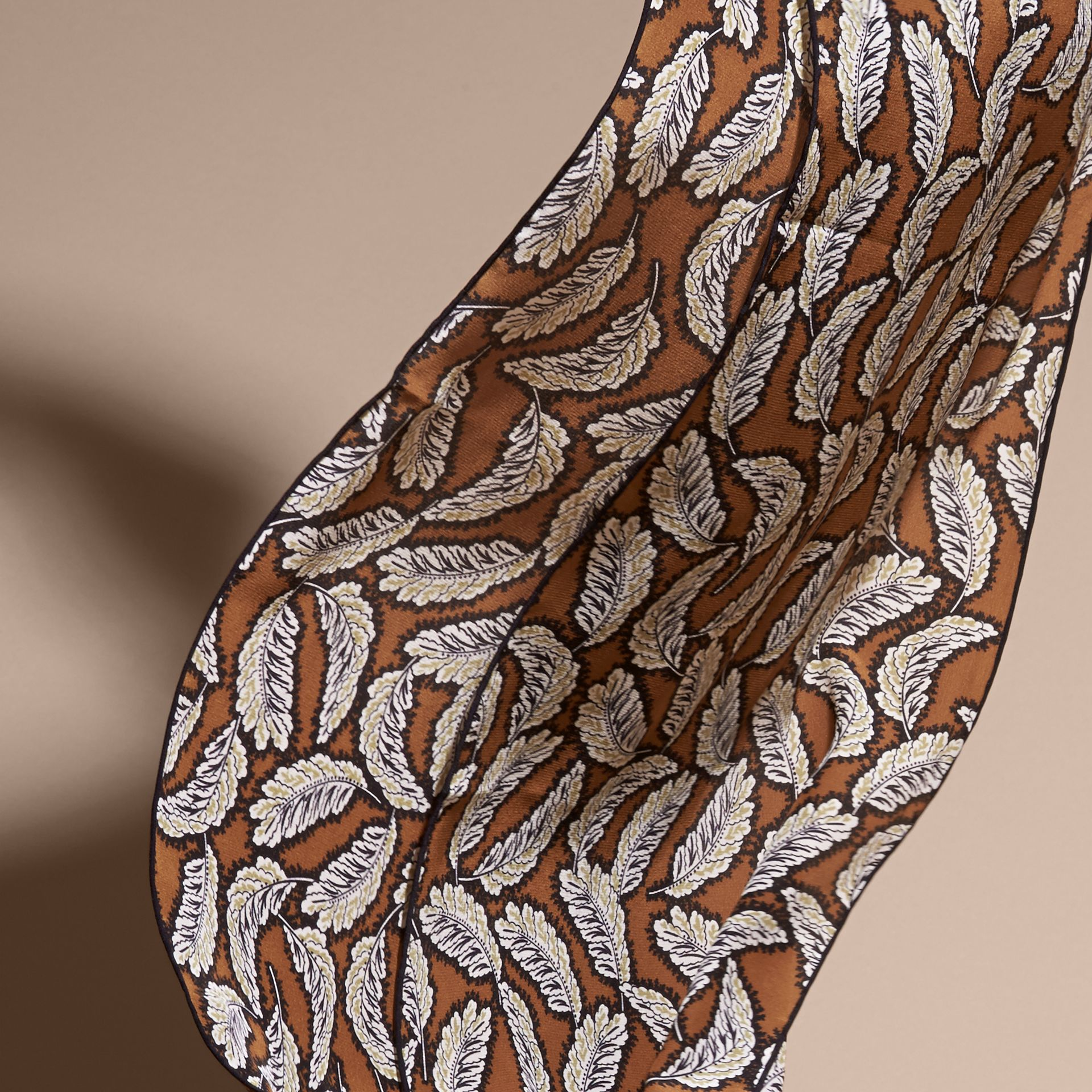 Bright toffee Leaf Print Silk Scarf Bright Toffee - gallery image 4
