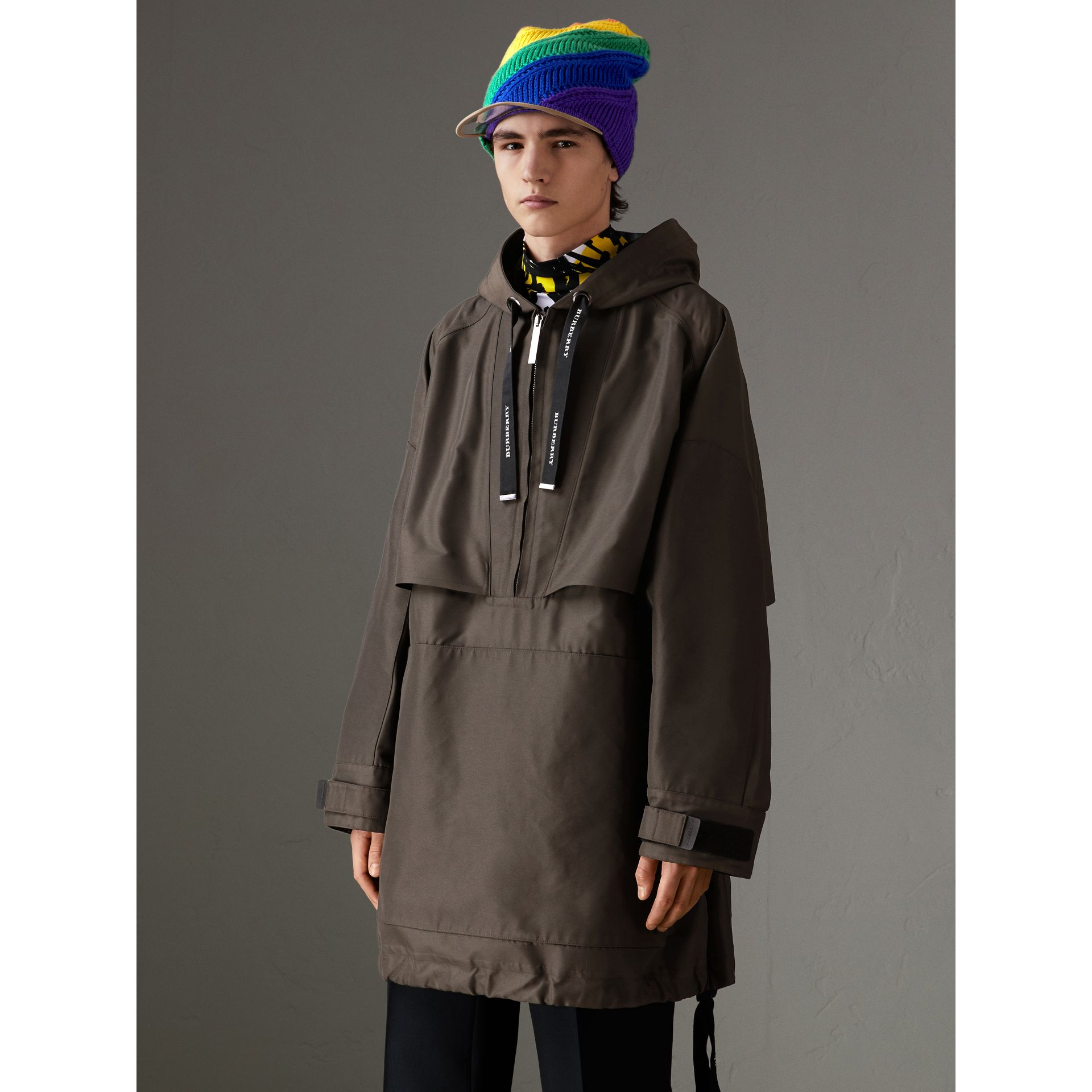 Bonded Canvas Oversized Anorak in Dark Forest Green | Burberry Australia - gallery image 5