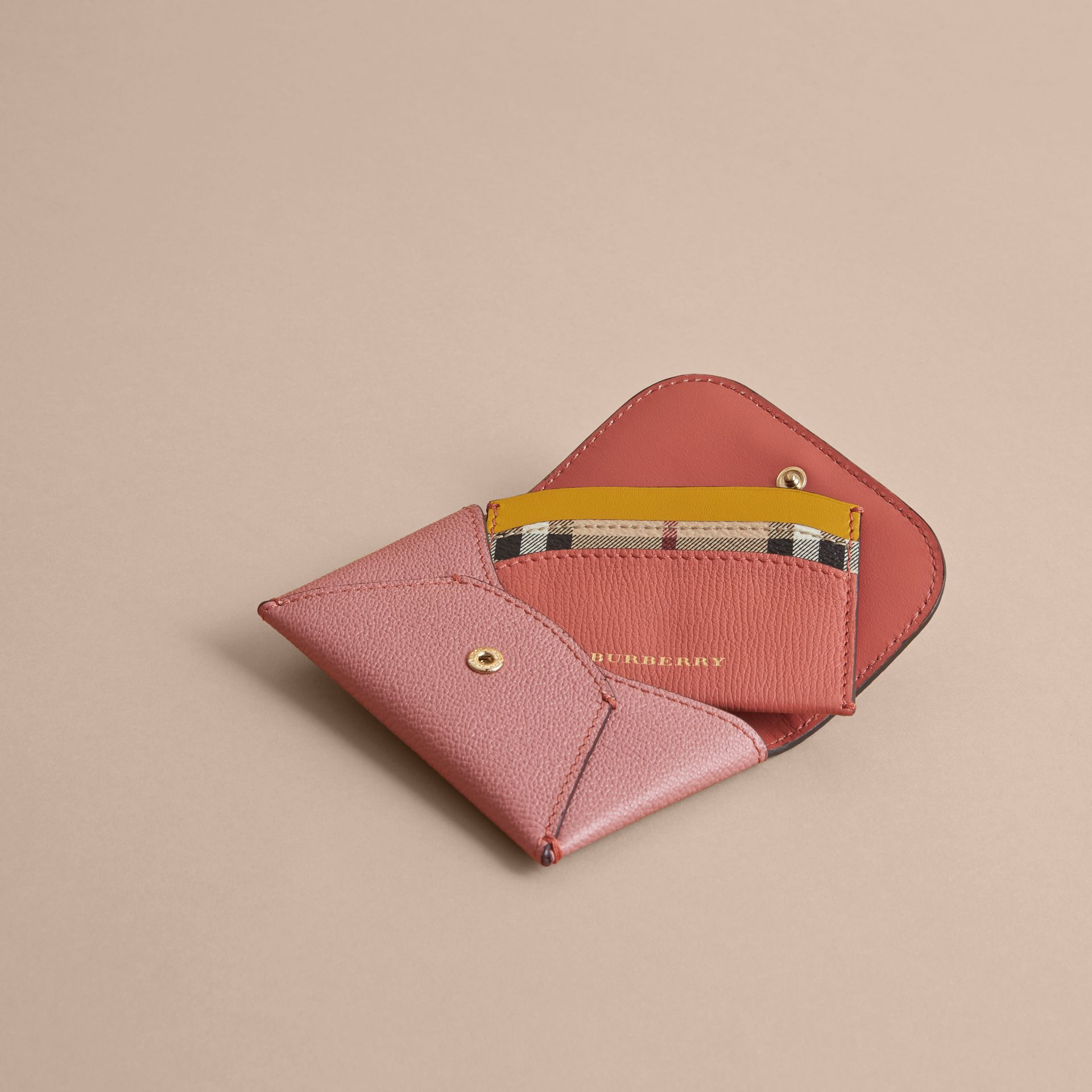 Leather Coin Case with Removable Card Compartment in Dusty Pink/multi - Women | Burberry - gallery image 3