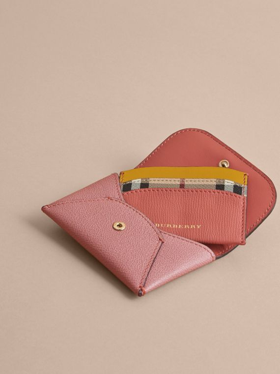 Leather Coin Case with Removable Card Compartment in Dusty Pink/multi - Women | Burberry United Kingdom - cell image 3
