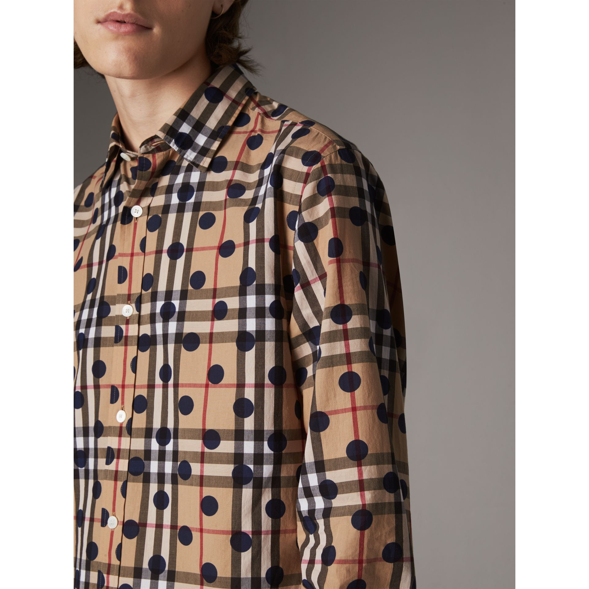 Spot Print Check Cotton Shirt in Navy - Men | Burberry - gallery image 2