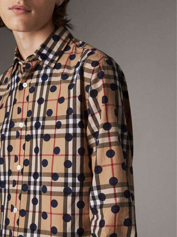 Spot Print Check Cotton Shirt in Navy - Men | Burberry - cell image 1