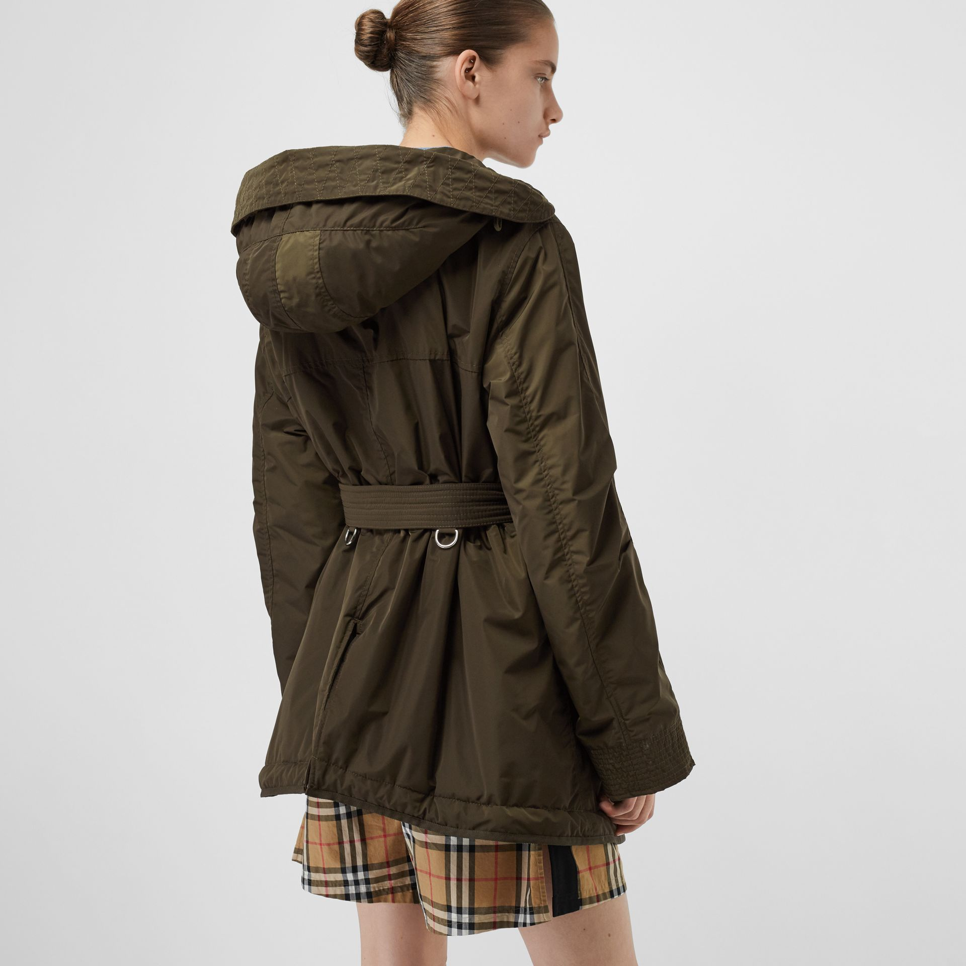 Shape-memory Taffeta Hooded Parka in Dark Olive - Women | Burberry - gallery image 2