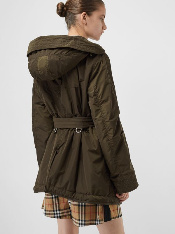 Shape-memory Taffeta Hooded Parka in Dark Olive - Women | Burberry - cell image 2