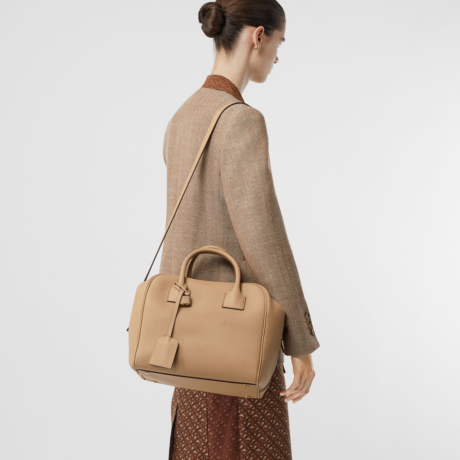 Medium Leather Cube Bag in Biscuit - Women | Burberry - gallery image 2