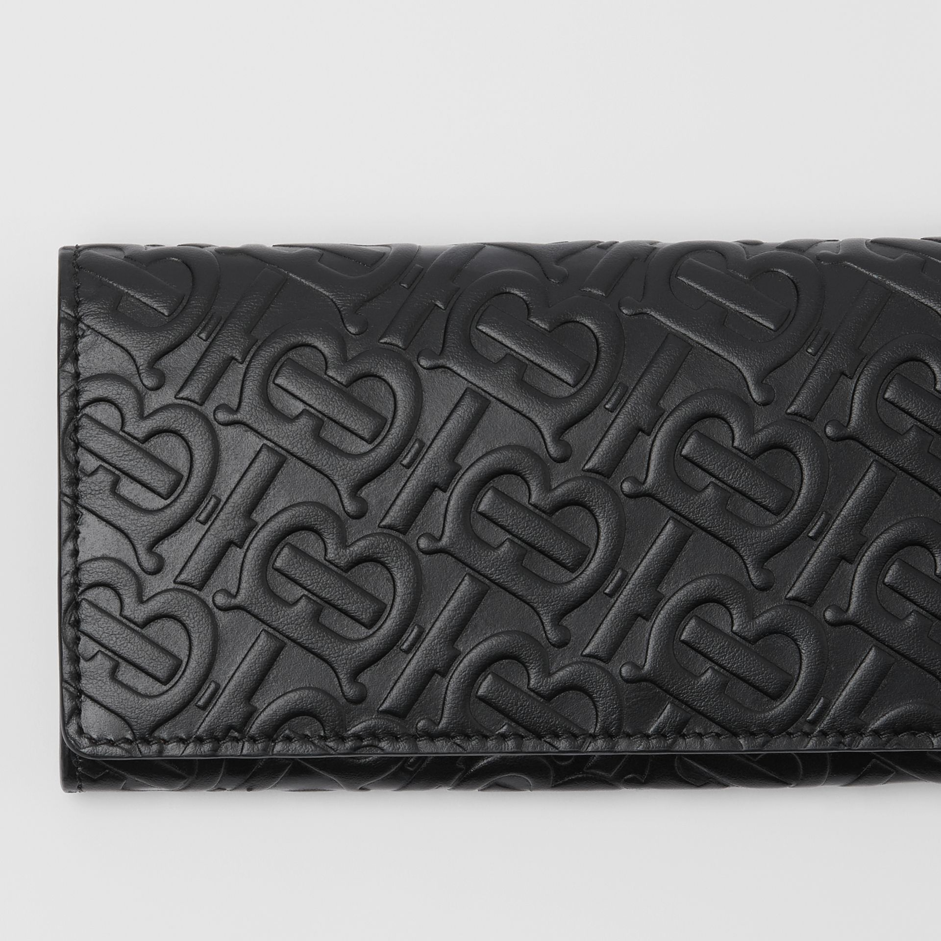 Monogram Leather Continental Wallet in Black - Women | Burberry Hong Kong - gallery image 1